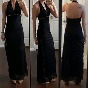 Cache black mesh halter rhinestone open back dress